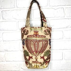 Tan tote with gold stitching